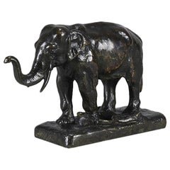 French Animalier Bronze Study of a Standing Elephant by Alfred Barye
