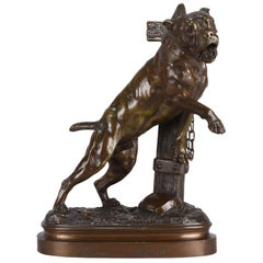 French Animalier Bronze Study 'Tethered Mastiff' by Lecourtier