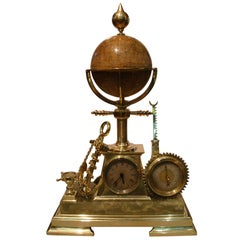 French Animated Industrial Desk Clock, Barometer with Rotating Globe, circa 1880