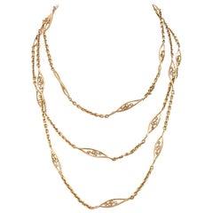 French Antique 18 Karat Gold Necklace