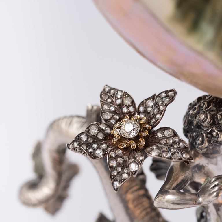 French Antique 19th Century Diamond Silver Gold Flower Pendant For Sale 6