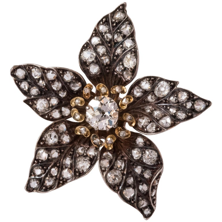 French Antique 19th Century Diamond Silver Gold Flower Pendant For Sale