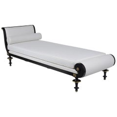 French Antique 19th Century Ebonized Daybed