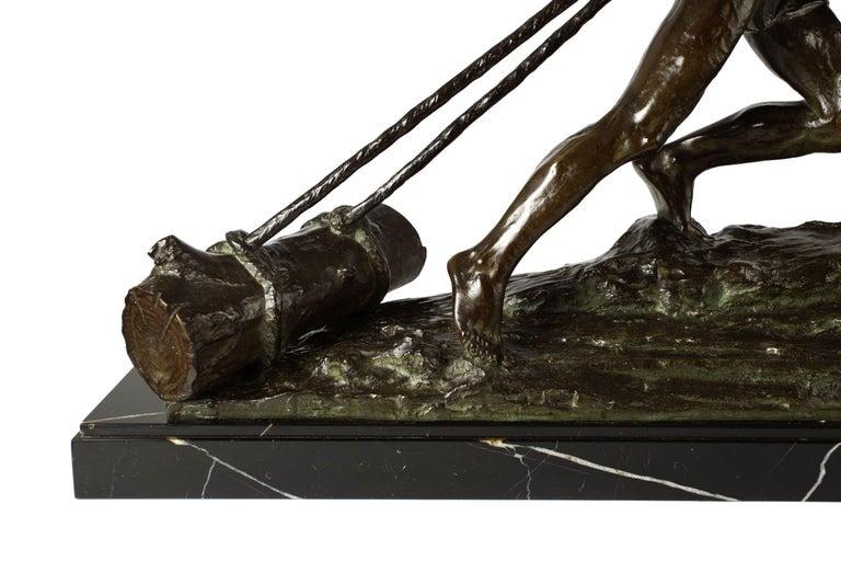 """French Antique Art Deco Bronze Sculpture """"L'Effort"""" by Edouard Drouot For Sale 6"""