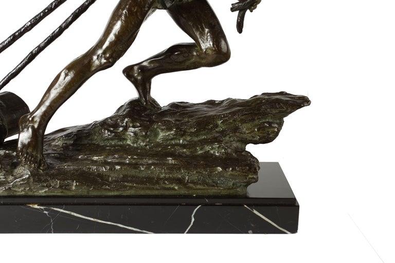 """French Antique Art Deco Bronze Sculpture """"L'Effort"""" by Edouard Drouot For Sale 7"""