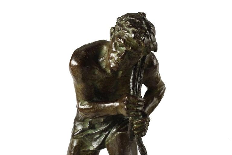 """French Antique Art Deco Bronze Sculpture """"L'Effort"""" by Edouard Drouot For Sale 10"""