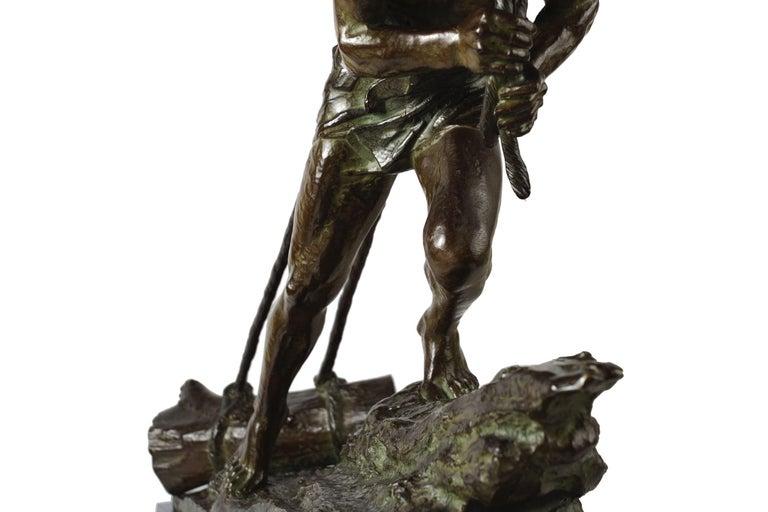 """French Antique Art Deco Bronze Sculpture """"L'Effort"""" by Edouard Drouot For Sale 11"""