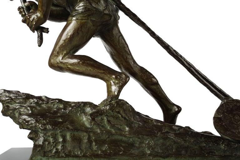 """French Antique Art Deco Bronze Sculpture """"L'Effort"""" by Edouard Drouot For Sale 16"""