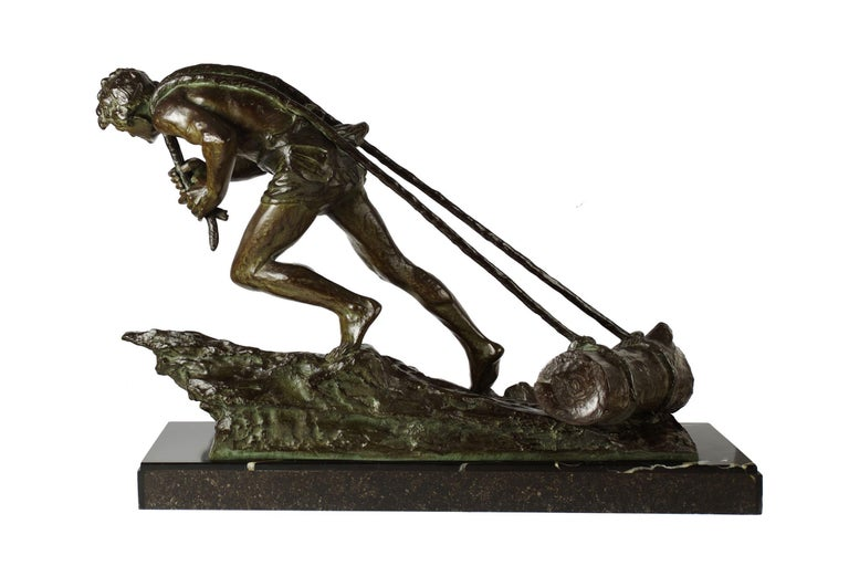 """French Antique Art Deco Bronze Sculpture """"L'Effort"""" by Edouard Drouot In Excellent Condition For Sale In Shippensburg, PA"""