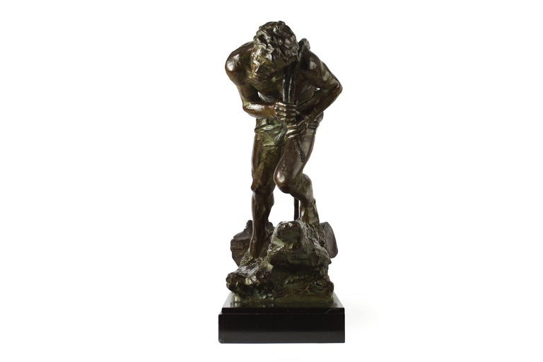 """Early 20th Century French Antique Art Deco Bronze Sculpture """"L'Effort"""" by Edouard Drouot For Sale"""
