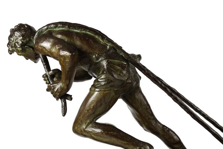 """French Antique Art Deco Bronze Sculpture """"L'Effort"""" by Edouard Drouot For Sale 2"""