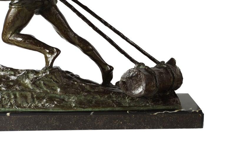 """French Antique Art Deco Bronze Sculpture """"L'Effort"""" by Edouard Drouot For Sale 3"""
