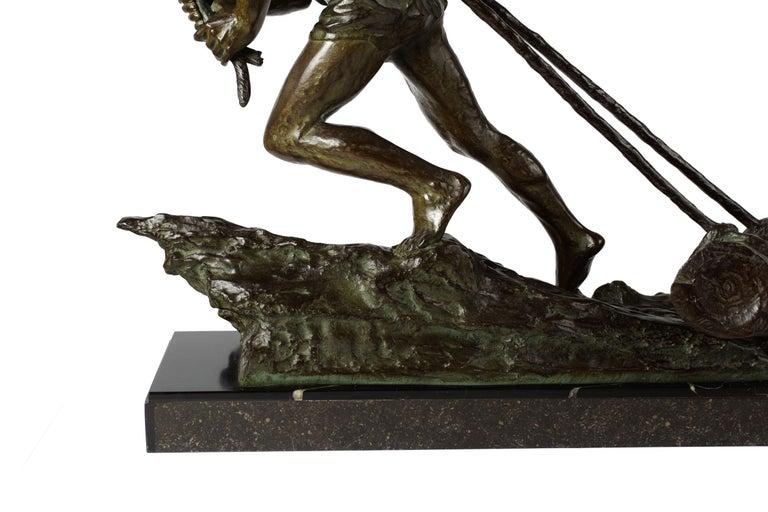 """French Antique Art Deco Bronze Sculpture """"L'Effort"""" by Edouard Drouot For Sale 4"""
