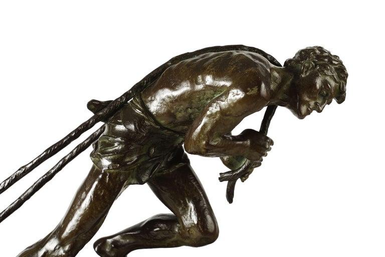 """French Antique Art Deco Bronze Sculpture """"L'Effort"""" by Edouard Drouot For Sale 5"""