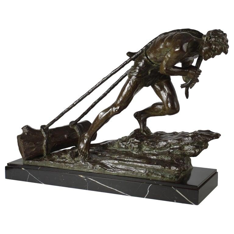 """French Antique Art Deco Bronze Sculpture """"L'Effort"""" by Edouard Drouot For Sale"""