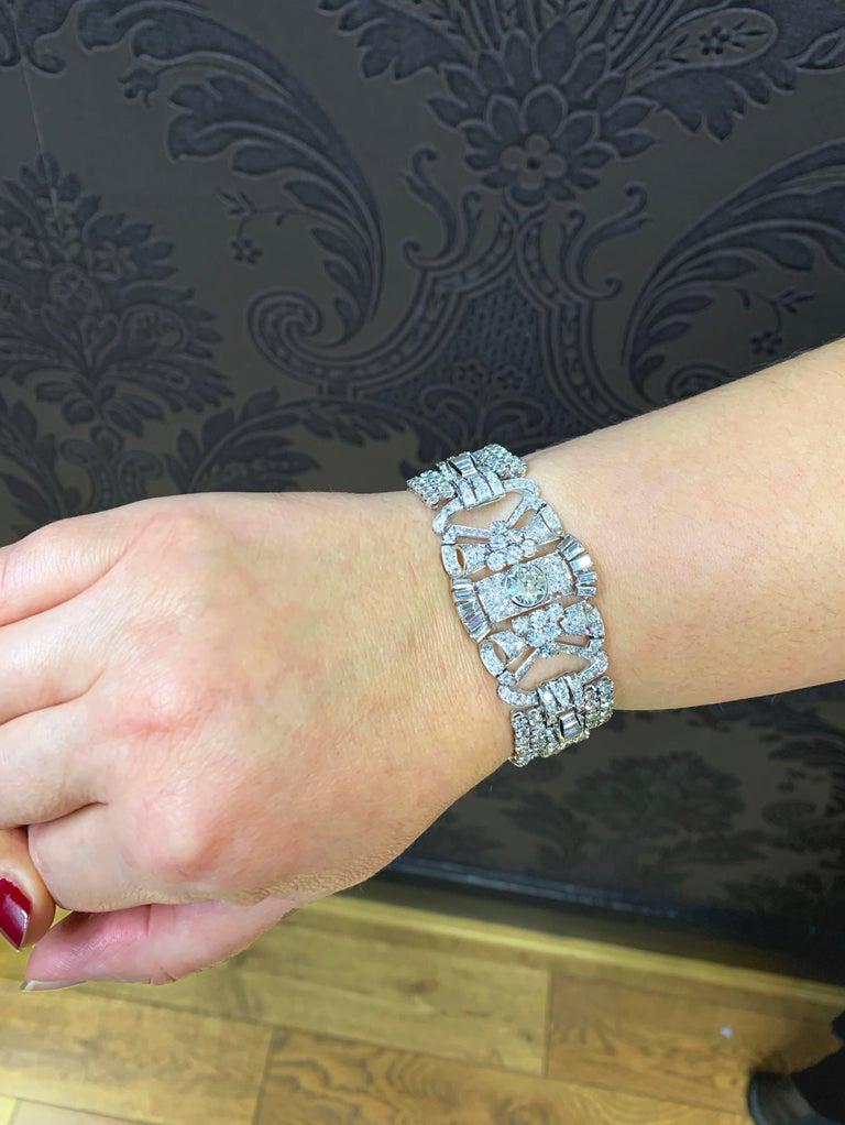 French Antique Art Deco Old Cut Diamond Platinum Bracelet, circa 1920s For Sale 2