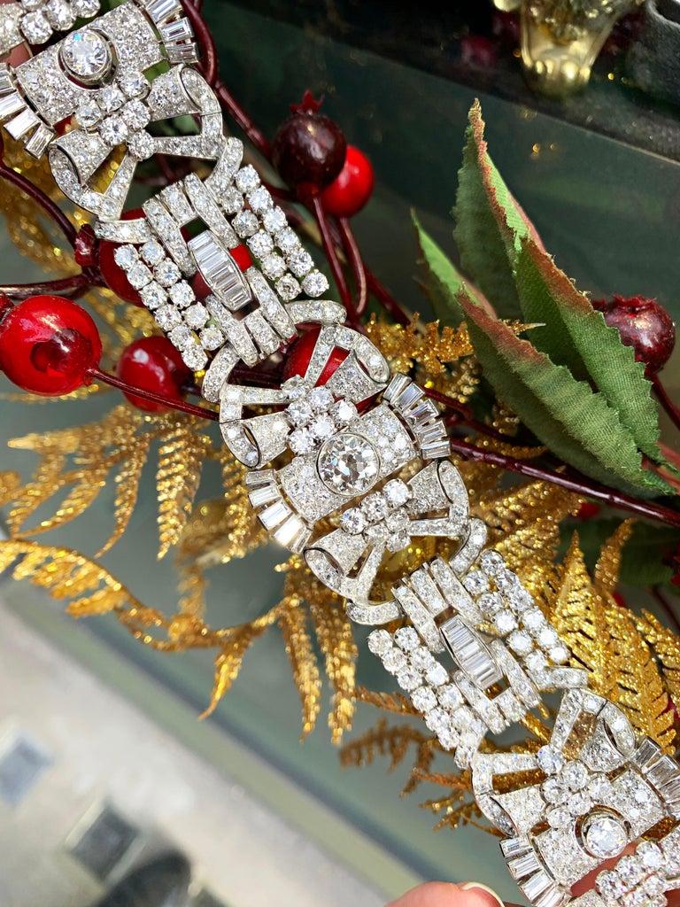 Women's French Antique Art Deco Old Cut Diamond Platinum Bracelet, circa 1920s For Sale