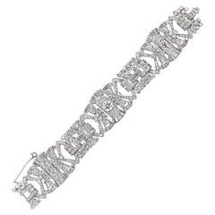 French Antique Art Deco Old Cut Diamond Platinum Bracelet, Circa 1920s