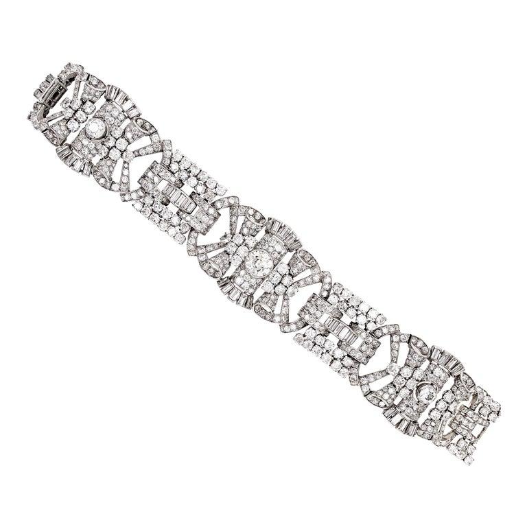 French Antique Art Deco Old Cut Diamond Platinum Bracelet, circa 1920s For Sale