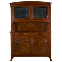 French Antique Art Nouveau Carved Walnut Server Buffet Cabinet