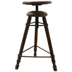 French Antique Artist Wooden Adjustable Stool