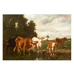 French Antique Barbizon Landscape Painting of Cattle by Emile van Marcke
