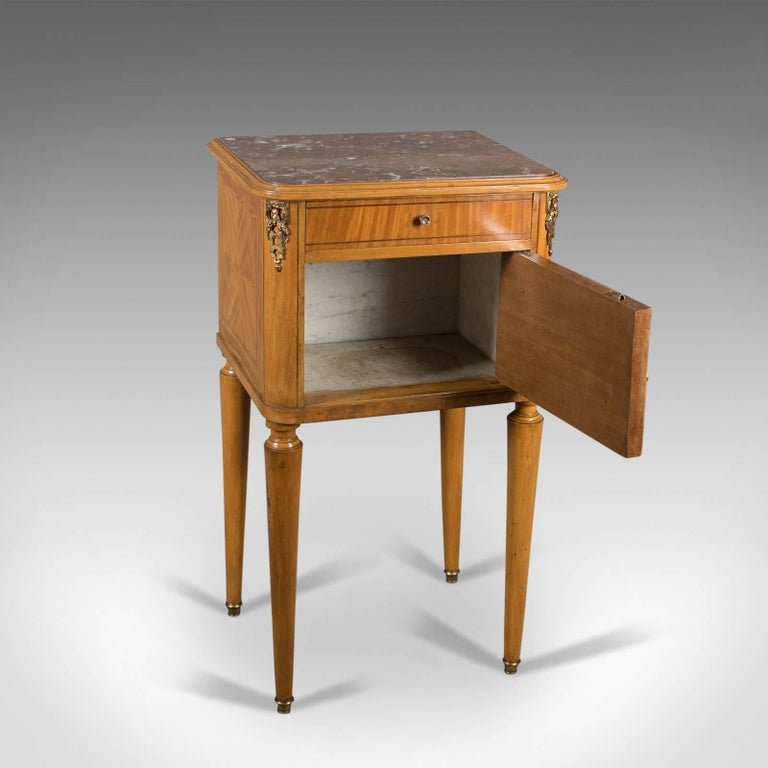 French Antique Bedside Cabinet, Marble-Top Nightstand, circa 1890 In Good Condition For Sale In Hele, Devon, GB