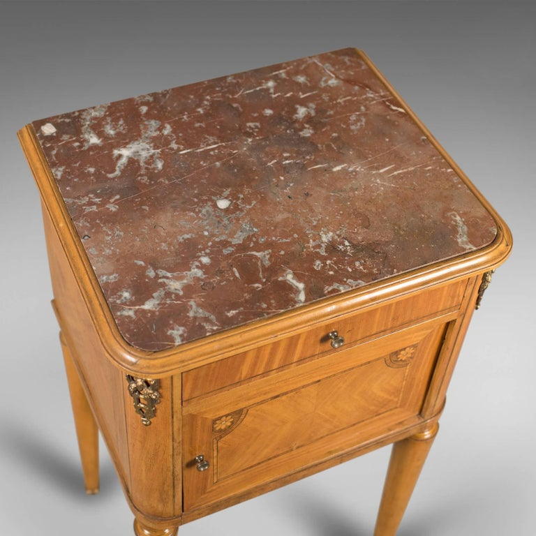 19th Century French Antique Bedside Cabinet, Marble-Top Nightstand, circa 1890 For Sale