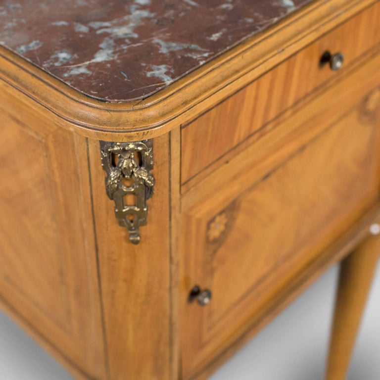 Walnut French Antique Bedside Cabinet, Marble-Top Nightstand, circa 1890 For Sale