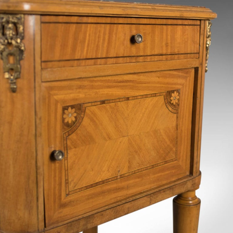 French Antique Bedside Cabinet, Marble-Top Nightstand, circa 1890 For Sale 1
