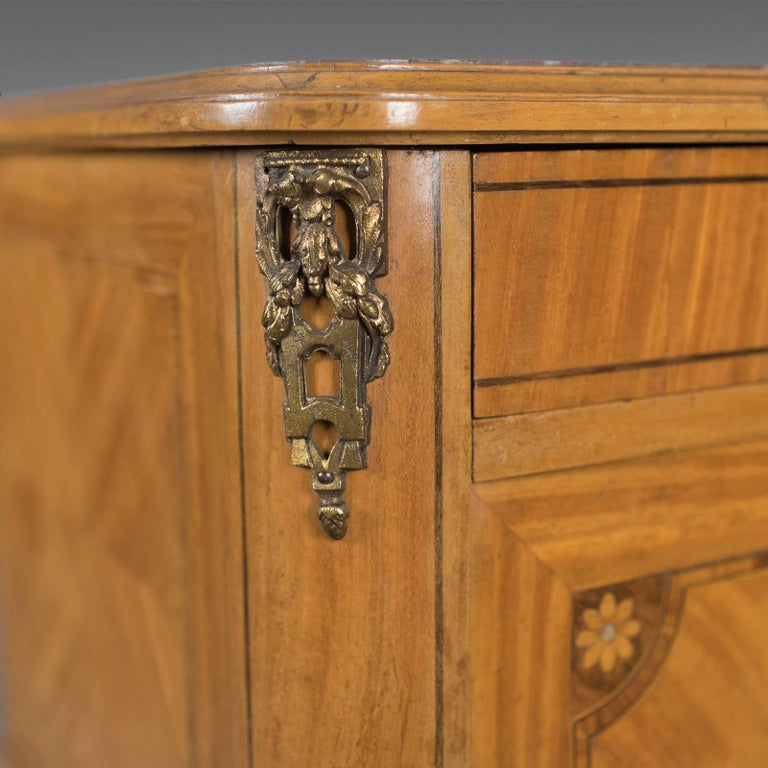 French Antique Bedside Cabinet, Marble-Top Nightstand, circa 1890 For Sale 2