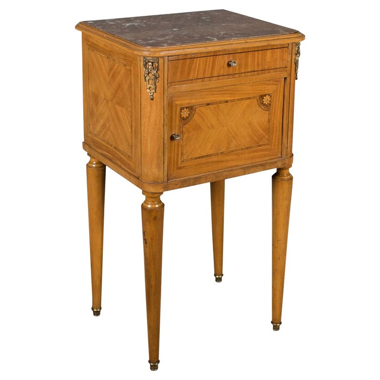 French Antique Bedside Cabinet, Marble-Top Nightstand, circa 1890 For Sale