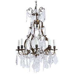 French Antique Bronze and Crystal Chandelier