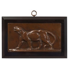 French Antique Bronze Bas-Relief Plaque of Leopard by Antoine-Louis Barye