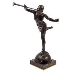 """French Antique Bronze """"La Renommée"""" 'Fame' by Alexandre Falguiere & Susse"""