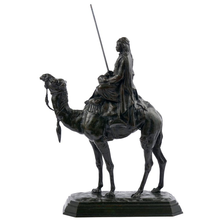 """French Antique Bronze Sculpture """"Arab Rider on Camel"""" by Barye & Delafontaine"""