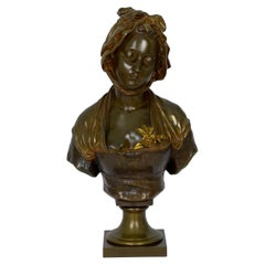 "French Antique Bronze Sculpture ""Bust of Girl"" by Eugene Laurent & Susse Freres"