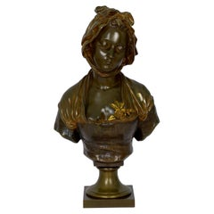 "French Antique Bronze Sculpture ""Bust of Girl"" by Eugene Laurent & Susse Frères"