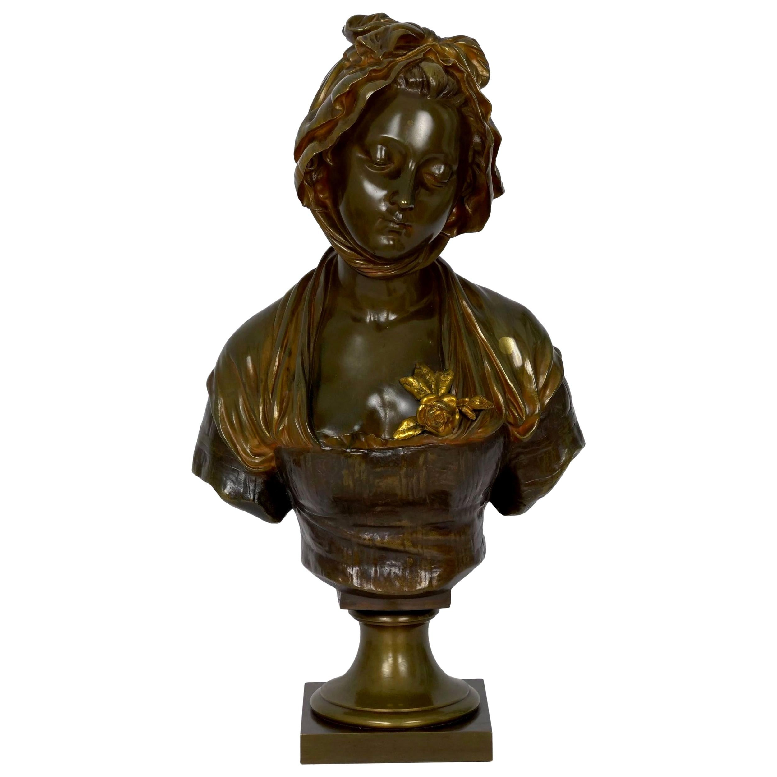 """French Antique Bronze Sculpture """"Bust of Girl"""" by Eugene Laurent & Susse Frères"""
