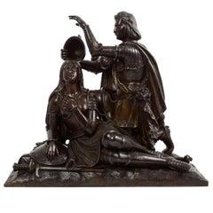 "French Antique Bronze Sculpture ""Charles VII Ennobling Joan d'Arc"", circa 1850s"