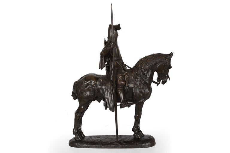 A rare and incredibly fine lifetime casting of Fremiet's monumental sculpture of Louis D'Orléans, frére de Charles VI, it was originally cast in 1869 at a commissioned cost of 23,000 francs, paid for in 1870 and displayed at the Salon of 1870 as no.