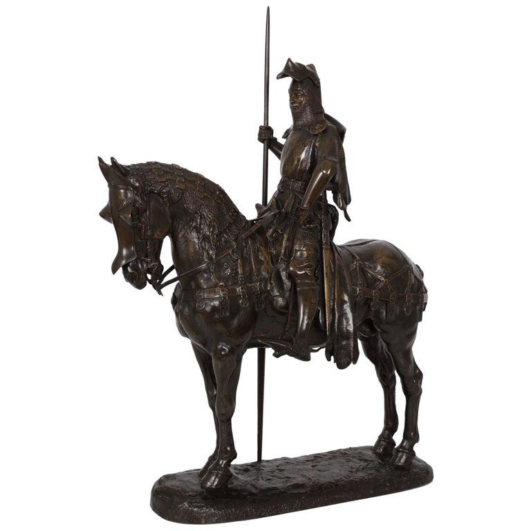 """French Antique Bronze Sculpture """"Louis D'Orleans"""" by Emmanuel Fremiet circa 1880"""