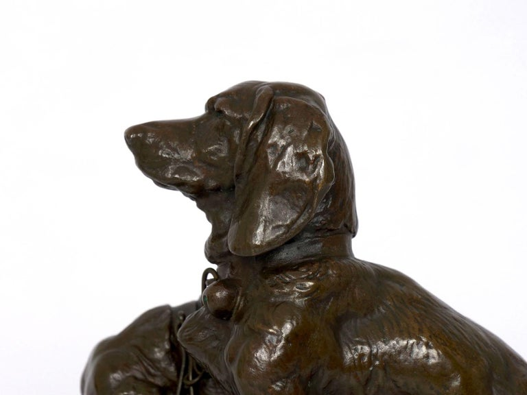 French Antique Bronze Sculpture of Basset Hounds by E. Fremiet & Barbedienne For Sale 5