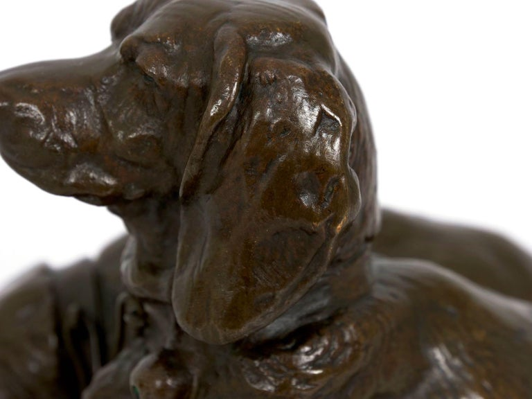 French Antique Bronze Sculpture of Basset Hounds by E. Fremiet & Barbedienne For Sale 7