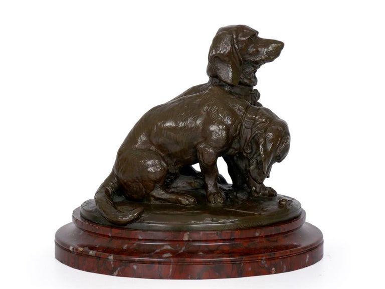 French Antique Bronze Sculpture of Basset Hounds by E. Fremiet & Barbedienne For Sale 11