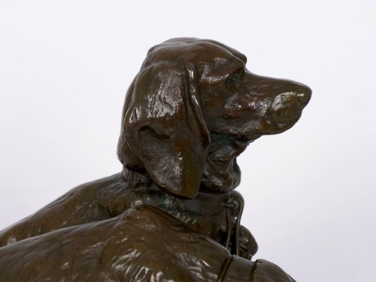 French Antique Bronze Sculpture of Basset Hounds by E. Fremiet & Barbedienne For Sale 12