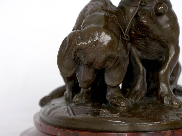 Marble French Antique Bronze Sculpture of Basset Hounds by E. Fremiet & Barbedienne For Sale