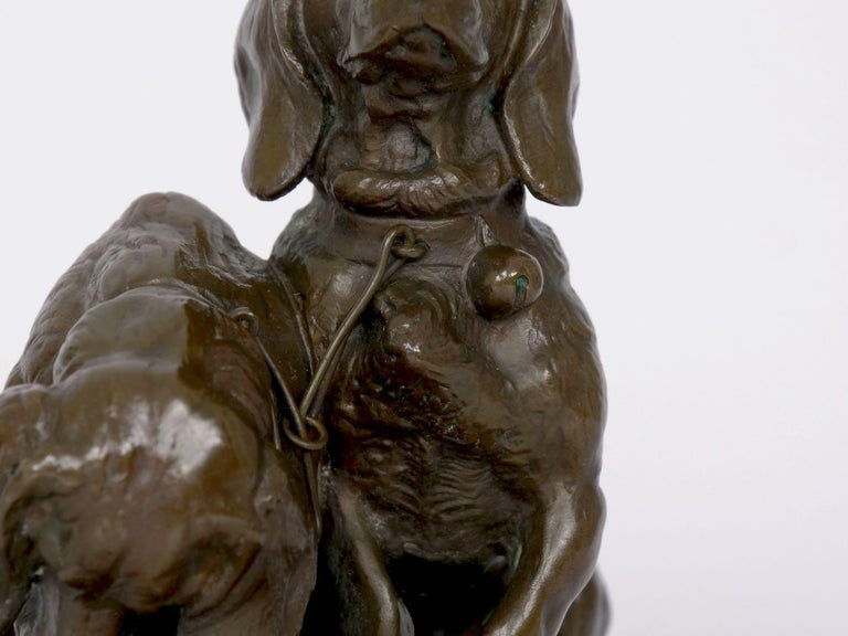French Antique Bronze Sculpture of Basset Hounds by E. Fremiet & Barbedienne For Sale 1