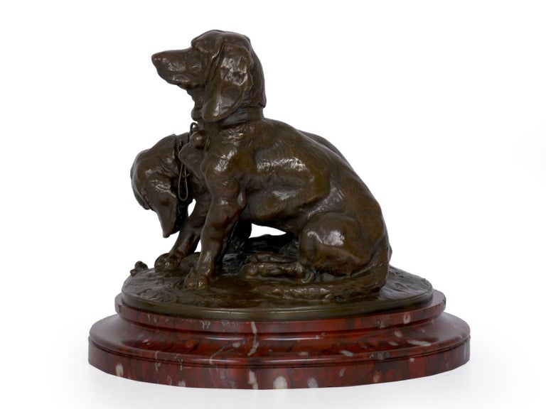 French Antique Bronze Sculpture of Basset Hounds by E. Fremiet & Barbedienne For Sale 3