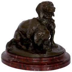 French Antique Bronze Sculpture of Basset Hounds by E. Fremiet & Barbedienne